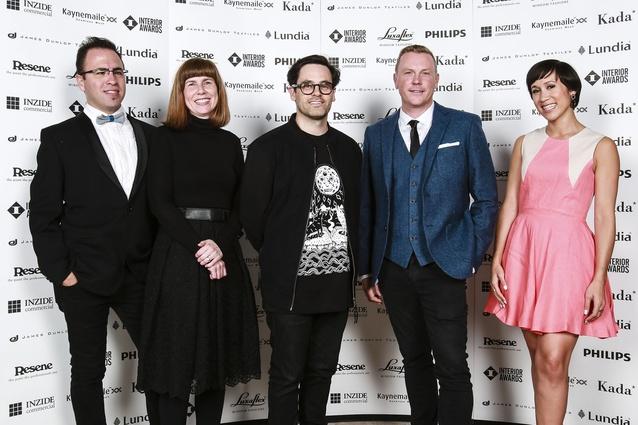 2014 Interior Awards Jury. L to R: Federico Monsalve, Rachel Carley, Aaron Paterson, Chris Stevens, Jo Aitken.