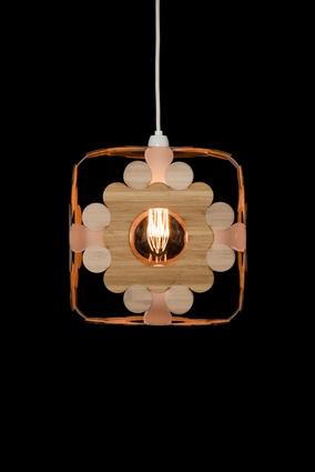 'Republic' lighting cube in bamboo.