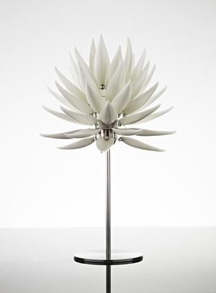 The Aloe Blossom Matt table lamp made from white bone china.