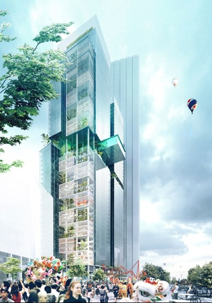JPW's original competition-winning design for twin commercial towers in Parramatta Square.