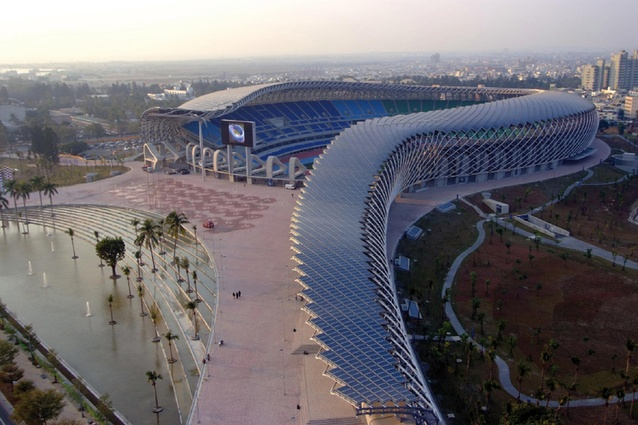 Taiwan National Stadium by Japanese architect Toyo Ito, 2009. The dragon-shaped stadium's 14,155 square meter roof is covered by an impressive 8,844 solar panels.