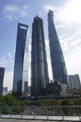 Three of the world's tallest buildings, L–R: Shanghai World Financial Centre, Jin Mao tower and Shanghai Tower.