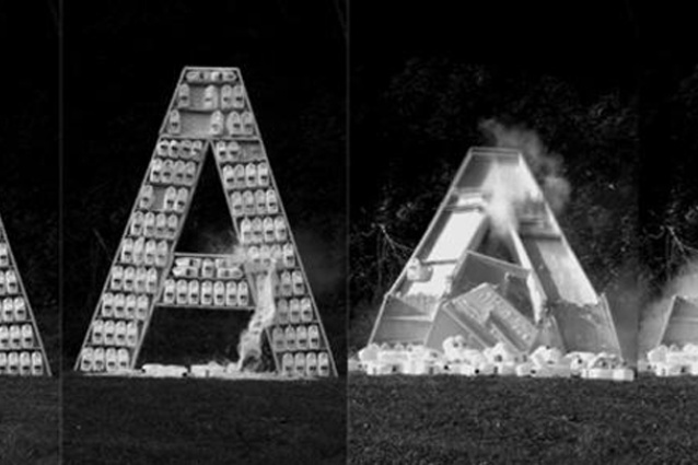 Destroyed Word (1 of 10 letters), by Santiago Sierra, 2012.