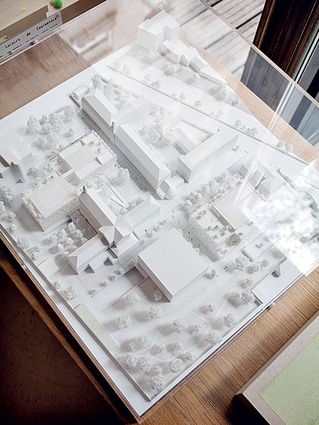 Architectural models and samples of building materials and finishes.