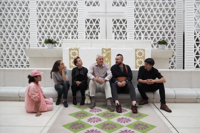 Dulux Study Tour participants (from left) Qianyi Lim, Hannah Slater, Katy Moir, Mathew van Kooy and Chris Gilbert with Jan Utzon (centre) in the Bagsværd Church, Copenhagen.