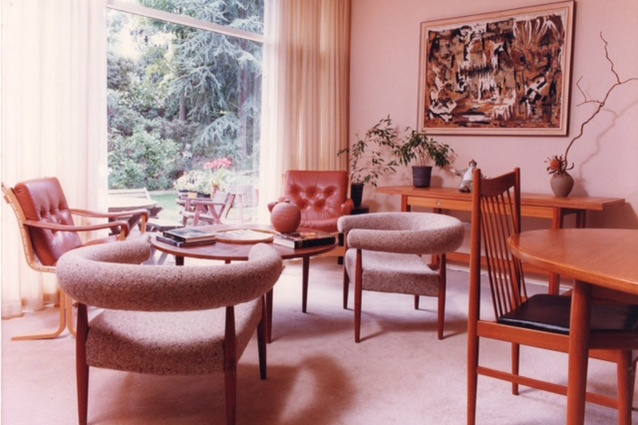 The living area of the Le Lievre family home in Mount Waverley, Victoria, 1979.