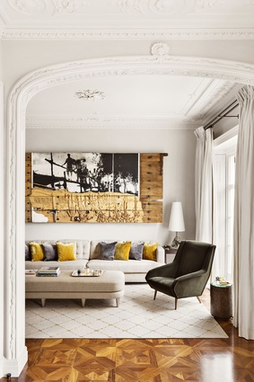 Interior of a London home Sultana designed, featuring his furniture.