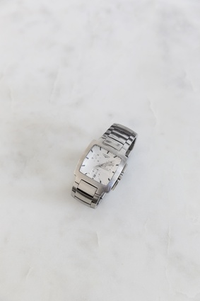"Longines watch: A wedding gift from one of Sid's aunts, he's been wearing it for close to 10 years. ""I like the design and its clunkiness. It's comfortable in the kitchen, so I wear it all the time.''"