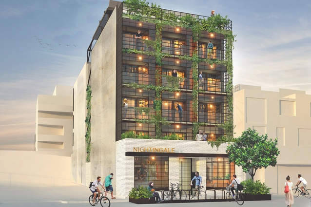 Rendering of Nightingale 1.0 in Brunswick, Melbourne. Designed by Breathe Architecture, the development is currently under construction.