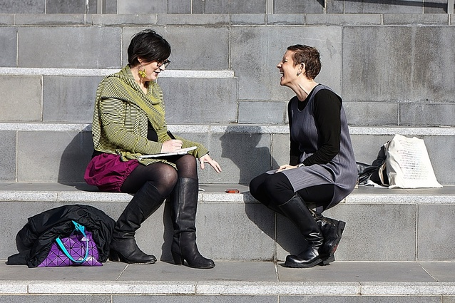 Tania Davidge (left) in conversation with Lori Brown after the Transform symposium in  Melbourne, 2013.