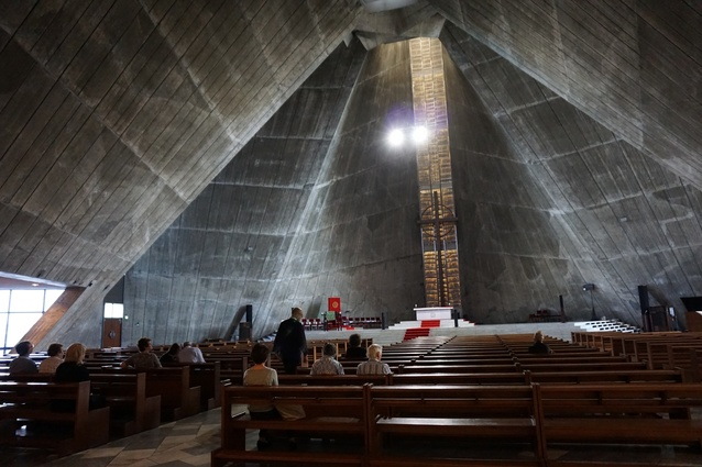 St Mary's Cathedral by Kenzo Tange, Tokyo. An incredibly emotive space, which succeeds largely due to an effort of geometry that resists understanding.