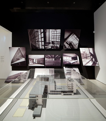 Photographs of the Bauhaus building at Dessau with a model of the building.