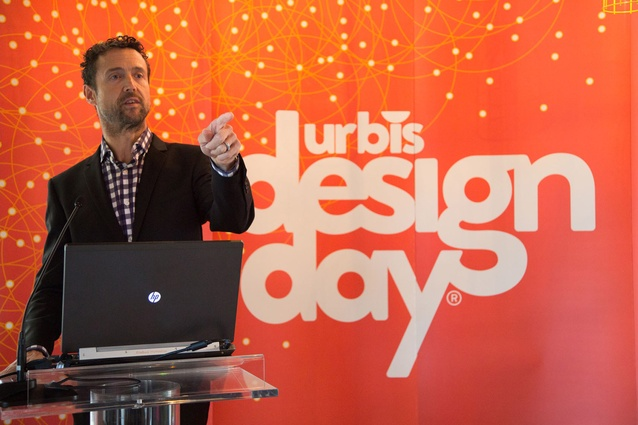 MC Jon Bridges entertains guests in the warm up to the Urbis Designday announcement.