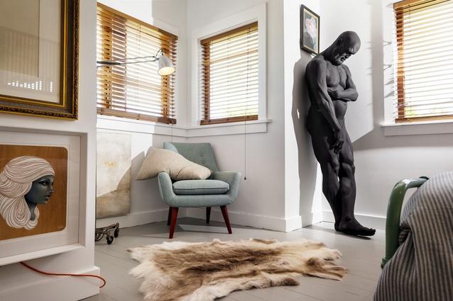 Patté's favourite sculpture, <em>Rest</em>, leans in a corner of his bedroom.