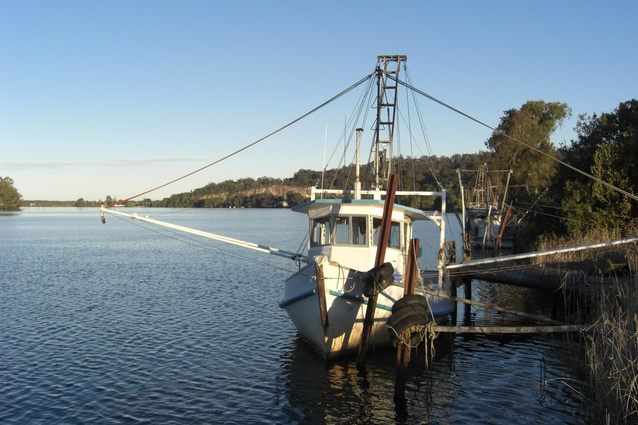 A Trawler docked on the Grafton River.