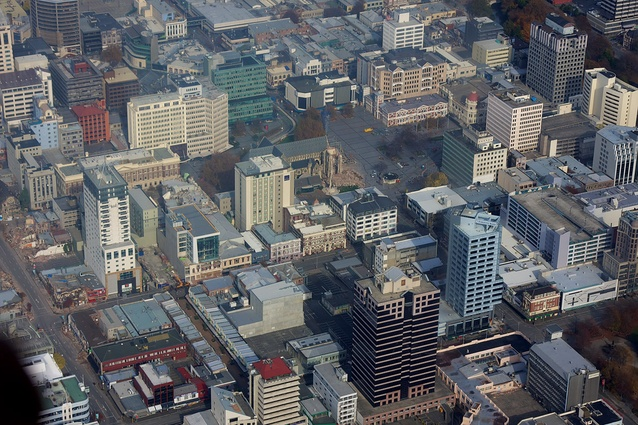 An aerial view of Christchurch after the February 2011 earthquake.