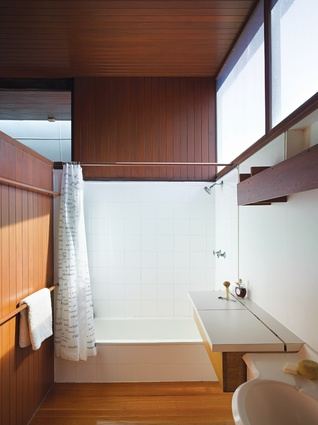 The bathroom draws in natural light.