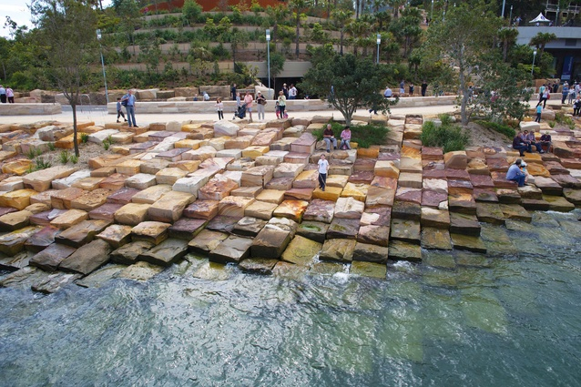 "The foreshores of the reserve have been formed in a style that represents the natural formation known on the coast as ""tessellated pavement."""