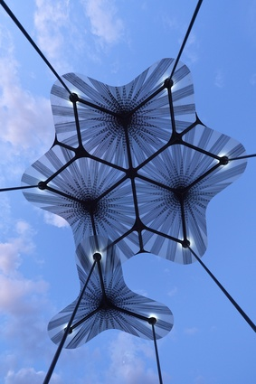 The design of Levete's MPavilion allows it to respond to the weather by moving with the wind.