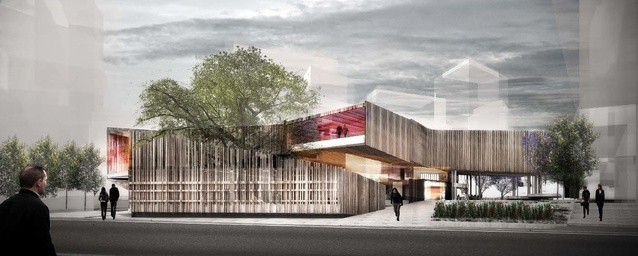 John Wardle Architects' proposed library and plaza viewed from Botany Road.