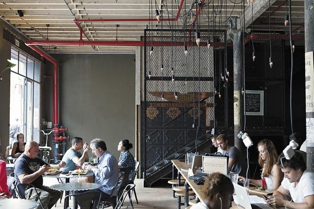 One of many industrial-chic cafes in the city.