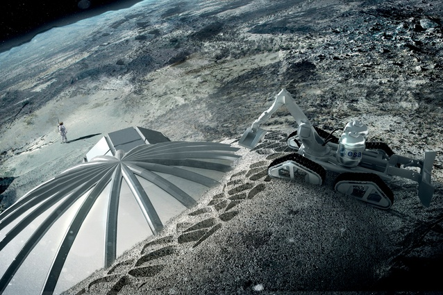 Foster + Partners' Lunar HQ no. 1, which is being designed as a trial for similar construction on Mars. Autonomous robots 3D print a cellular structure that protects the inhabitants from gamma radiation, meteorite impacts and temperature fluctuations.