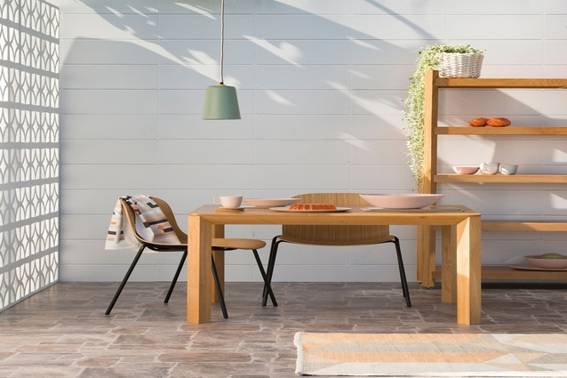 Citta <i>Wish You Were Here, Postcards from Palm Springs</i> collection featuring the Tilt Square Dining Table, 3D Dining Chair and Radial Shelving.