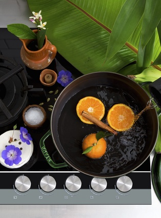 Fisher & Paykel 900mm 5 Burner Gas on Glass Cooktop. Flotsam & Jetsam Terracotta Jug and The Homestore Staub Round Casserole. Ceramics Collection - artist's own.