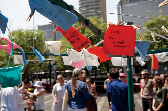 Jess Miley's <em>Sydney! There's something I've been meaning to tell you</em> invites passers-by to write down their secrets and hang them out on washing lines.