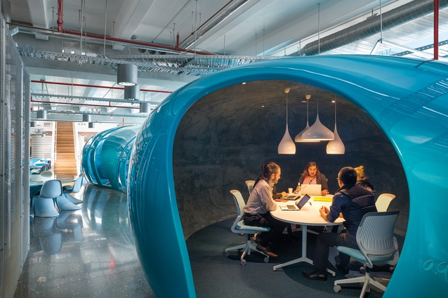 Fibreglass 'Aquapods' act as break-out meeting rooms.