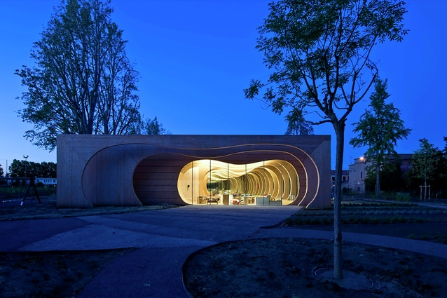 Guastalla Kindergarten, Italy by Mario Cucinella Architects. There are varied spaces within for exploration, play, rest, and transparent zones to peek out at other children.