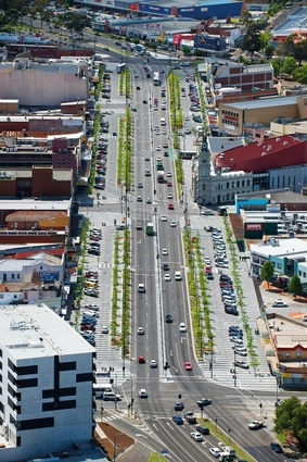 An aerial view of Lonsdale Street, Dandenong looking north.