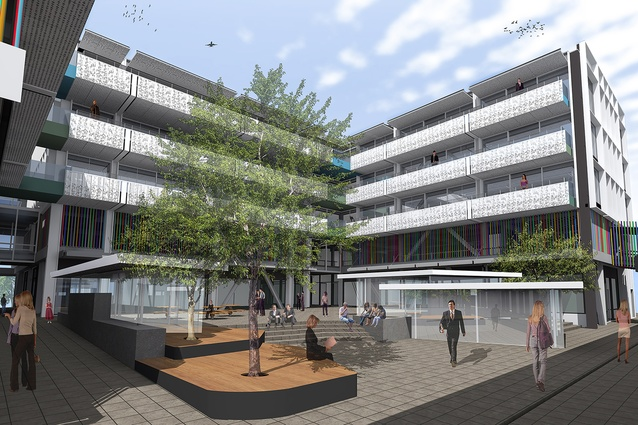 An artist's impression of the landscaped central courtyard.