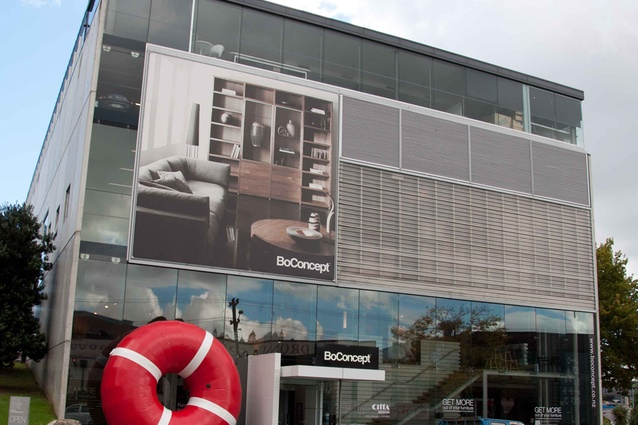 When art collides with furniture: Webber's huge Ring work exhibited outside BoConcept in Auckland.