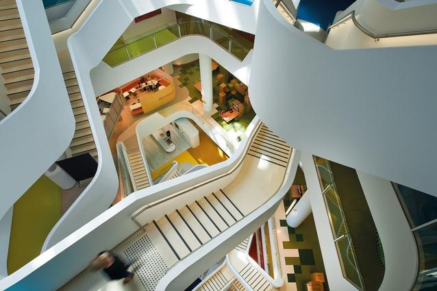 Natural light reaches deep into the building through the atrium.