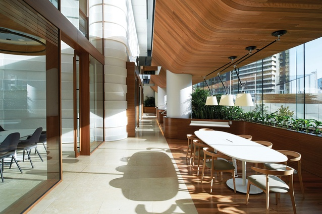 The architects made a variety of spaces for collaboration including a sun-lit area on the building's north-west side.