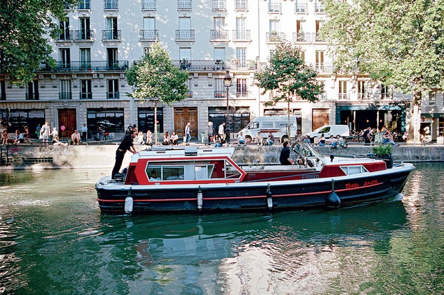 A canal boat on Canal Saint-Martin.