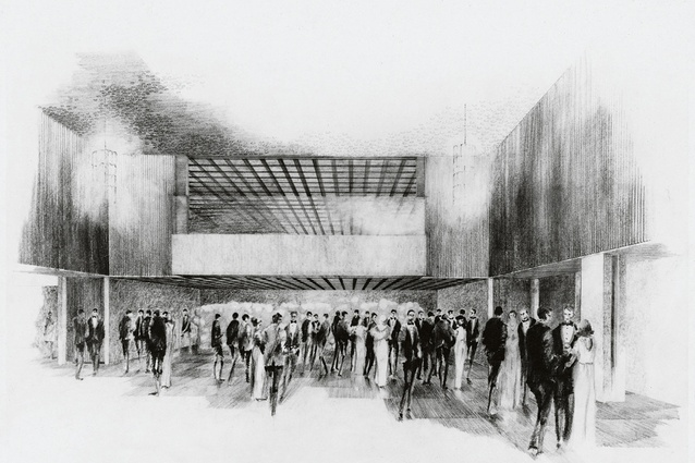 A sketch of the main assembly hall of the existing Australian embassy building in Washington DC designed by Bates, Smart and McCutcheon in 1964.
