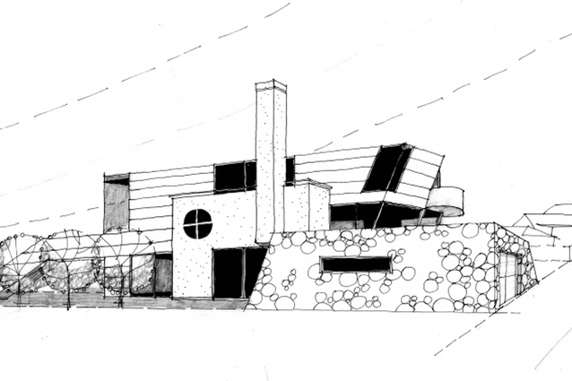 Sketch of Warwick House, a new coastal house to be constructed in Lyall Bay, Wellington.