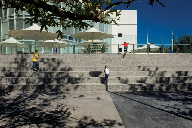 "New terrace seating creates an ""outdoor classroom"" for Questacon."