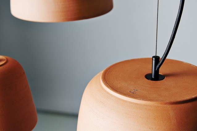 Potter is a ceramic pendant light by Anchor Ceramics, available in a range of glazed finishes.
