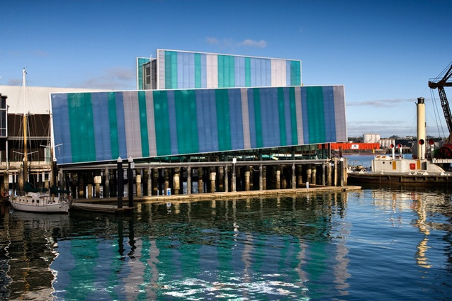 New Zealand Maritime Museum, Auckland by Bossley Architects, 2011. In this extension, large planes of coloured polycarbonate cladding explode the traditional form of the sheds.