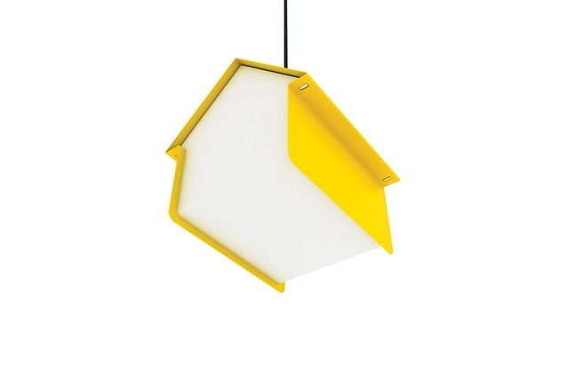 The Hut pendant light made from folded acrylic and folded steel.