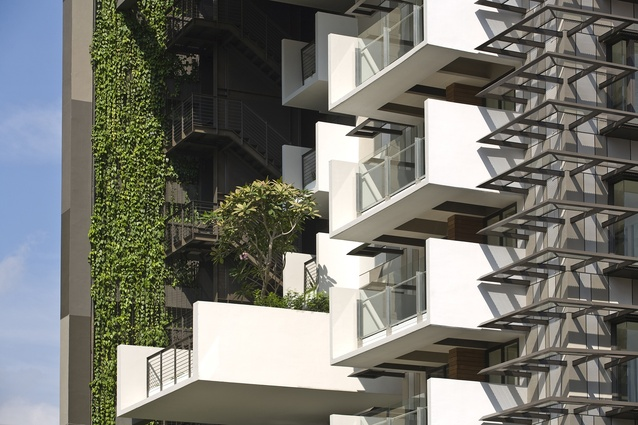 """Newton Suites includes sun-shading elements described by WOHA's Richard Hassell as """"hairy."""""""