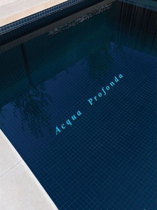 """Acqua Profunda"" is inscribed in white tiles on the bottom surface, a warning of the deep water and a connection to an artwork by Lyndal Jones with the same title."