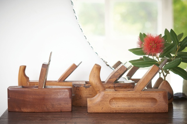 """Wooden planes: """"My dad, David H Culy, was a cabinet maker and the creator of Homebase's best seller, the Geo Baby sidetable,"""" says Brian. """"I inherited about eight planes from him."""""""