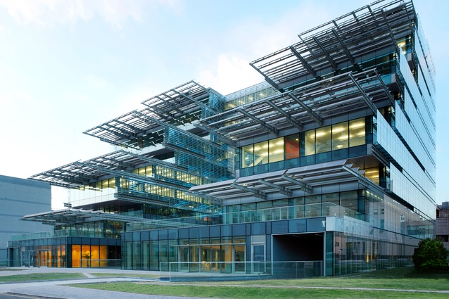 The SIEEB building, Beijing, by Mario Cucinella Architects. Designed to maximise passive solar capabilities and fitted with state-of-the-art active solar elements.