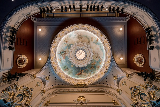 Detail from the iconic dome at the Isaac Theatre Royal.