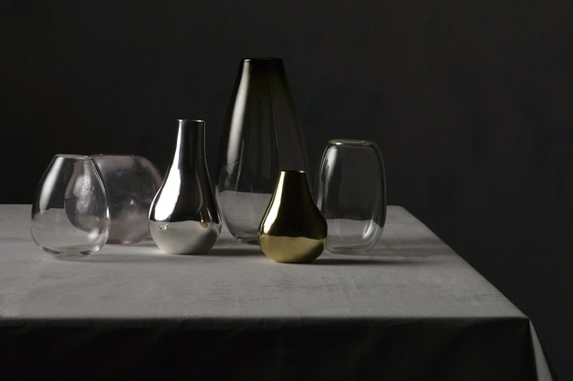 Glass, brass and silver-plated vases from the Atelier collection.