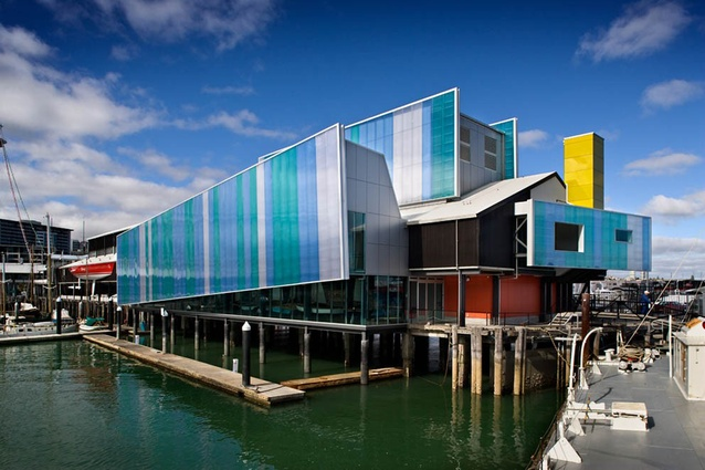 New Zealand Maritime Museum, Auckland. The double-skin multi-cellular polycarbonate exterior has excellent UV and thermal protection properties and transmits softly filtered light inside.